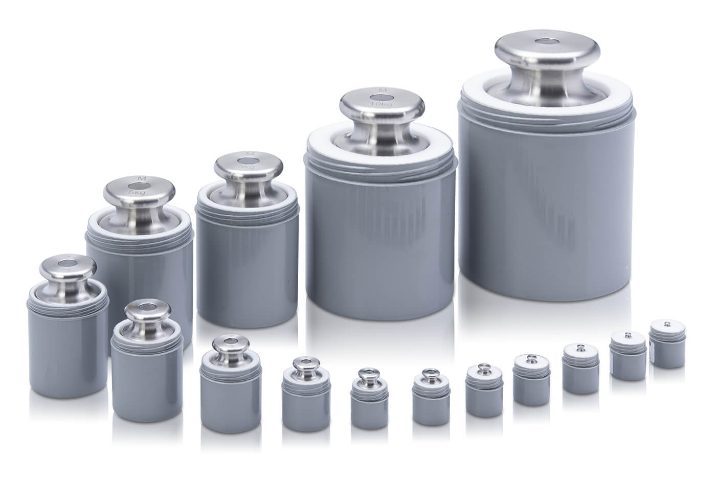 M1 Einzelgewichte aus Edelstahl  in gepolstertem Kunststoffbehälter